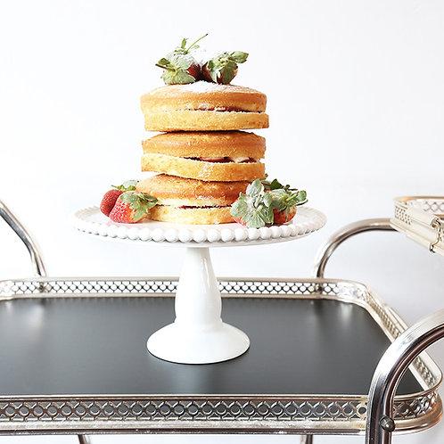 WHITE CERAMIC BEADED CAKE STAND