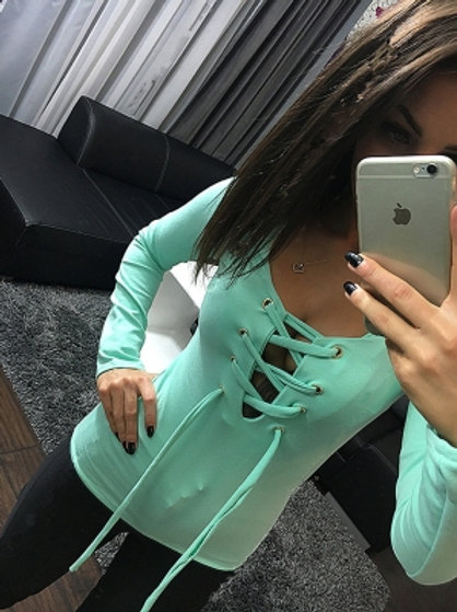 Pale Jade long sleeve lace up top