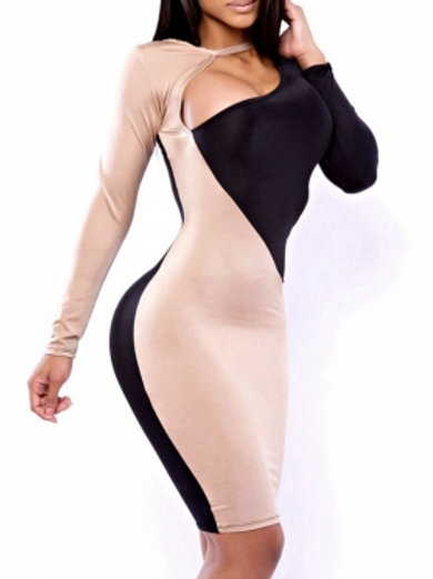 black and beige plunge  body con dress