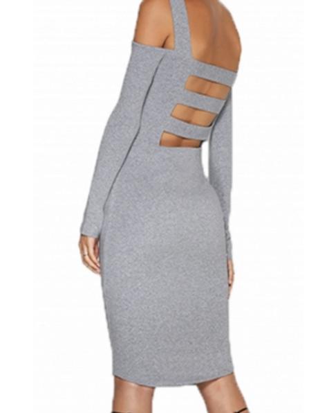 Grey cold shoulder strappy cut out back midi body con dress