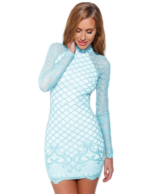 Pale VIP deluxe blue sheer patterned long sleeve classic dress