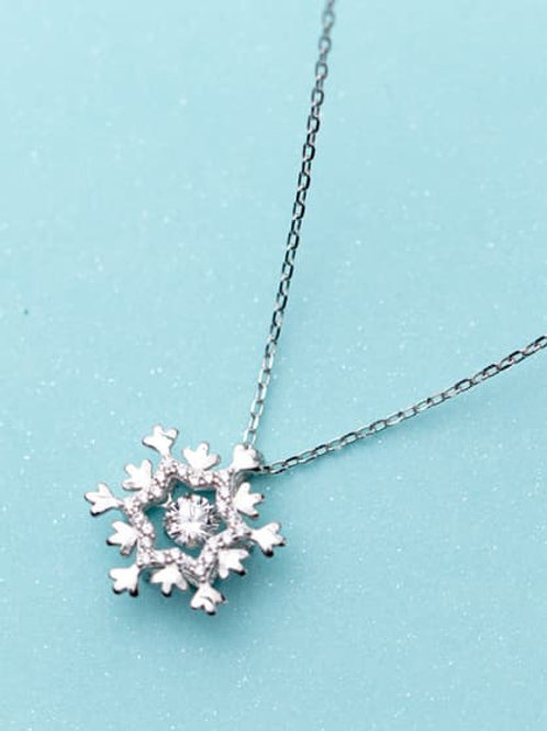 925 Sterling silver zirconia snowflake necklace 18″