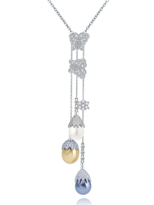 Silver plated Copper inlaid AAA zircon imitation pearl Butterfly pendant & Chain