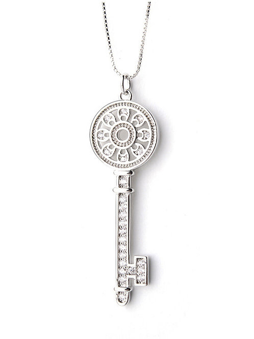 Silver plated Key micro-inlay AAA Zircon pendant and 18″ chain