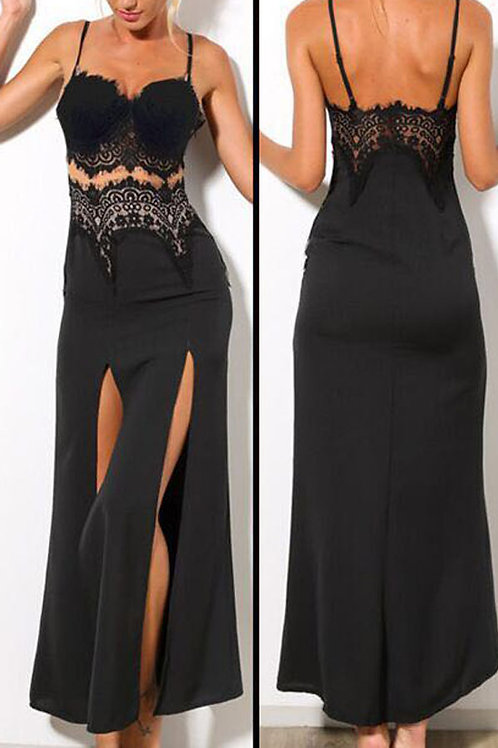 Black maxi lace and net split dress