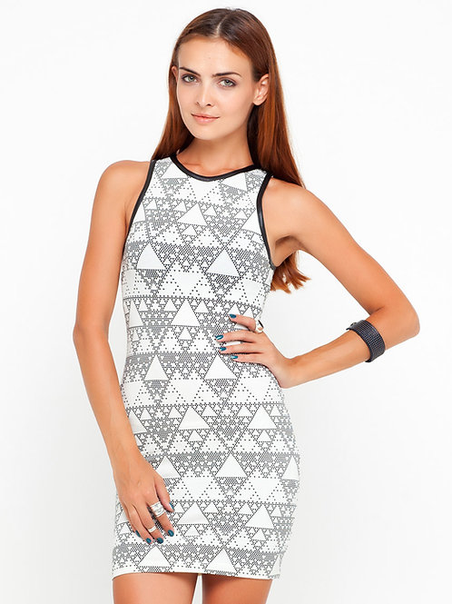 Designer 60's mod style PU Trim Bodycon Dress in Ivory dress