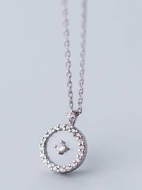 925 Sterling Silver Delicate Round floating illusion Cubic Zircon & chain