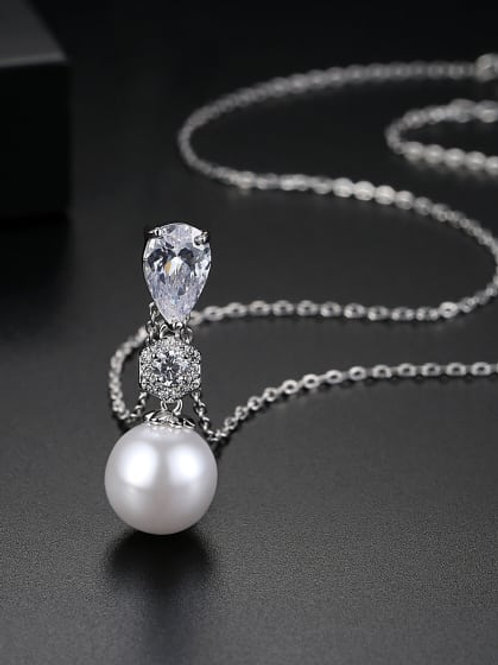 silver plated Copper inlaid AAA zircon imitation pearl Water Drop pendant &chain