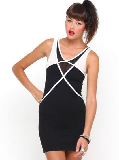 Motel rocks colour block black and white dress