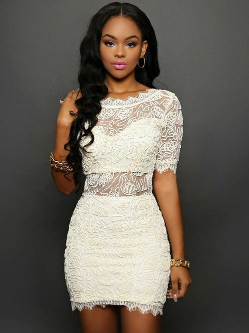 VIP white lace deluxe embroidered lace and sheer V neck open back body con dress