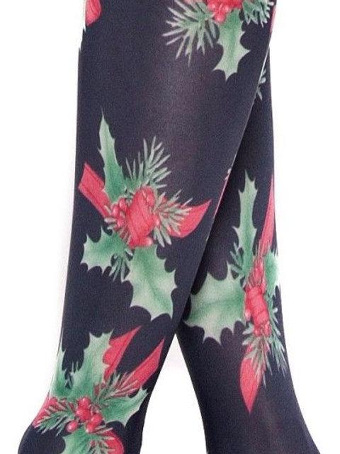 Designer Christmas holly tights
