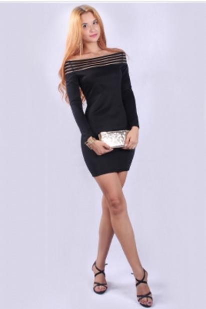 Black off shoulder stripe mesh top body con dress
