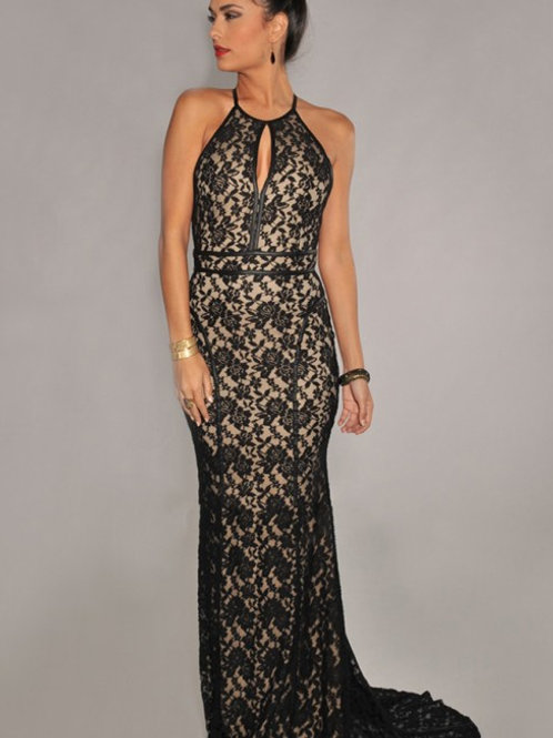 Evening dress Black/nude colour lace fish tail