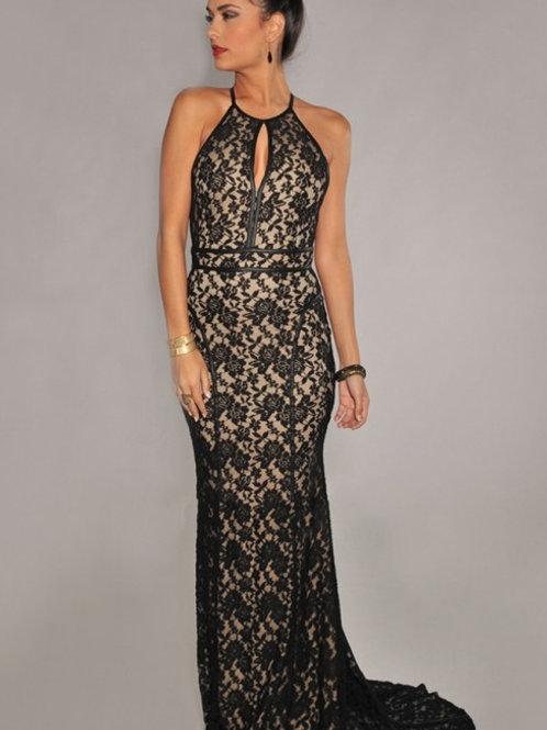 Evening dress Black/pale pink  colour lace fish tail