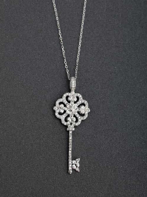 Silver 925 Heart Key Cubic Zirconias Pendant & 18″ chain