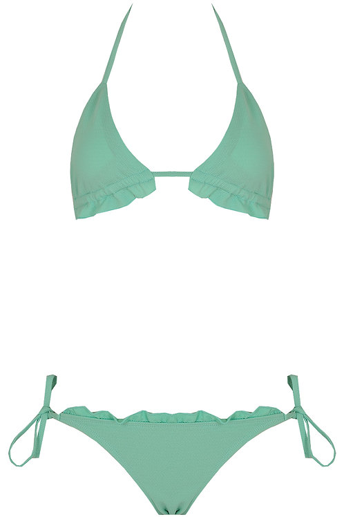 Pale Green Halter Neck Bikini Set