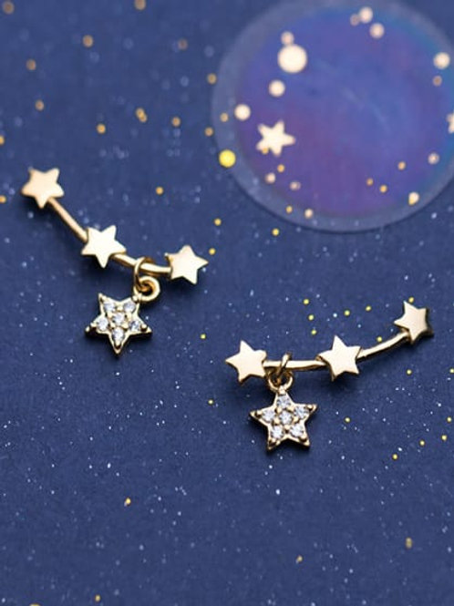 Small Sterling Silver Rose colour 925 Cubic Zirconia Cute Star Stud Earrings
