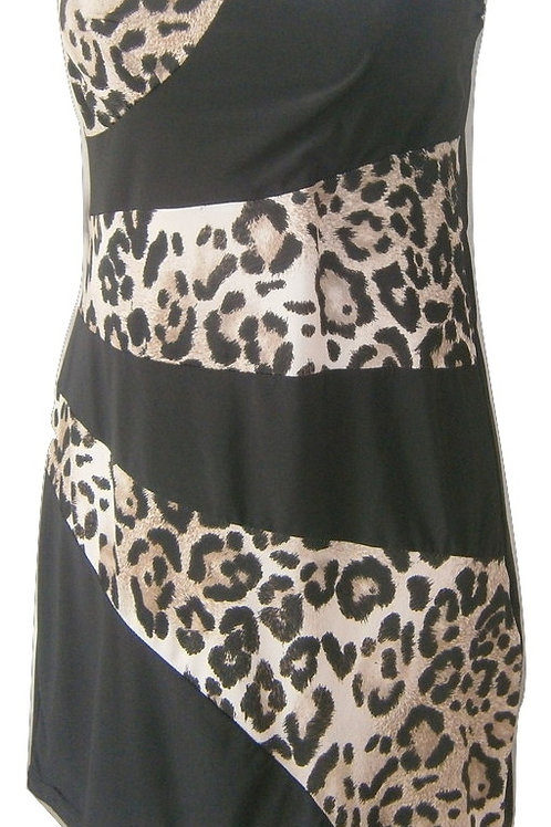 Black and leopard body con dress strapless