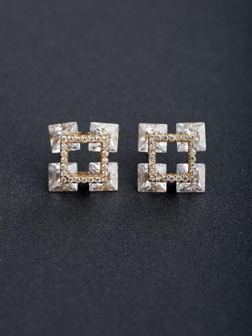 Silver 925 Zircon Micro inlay Three-dimensional stud Earrings