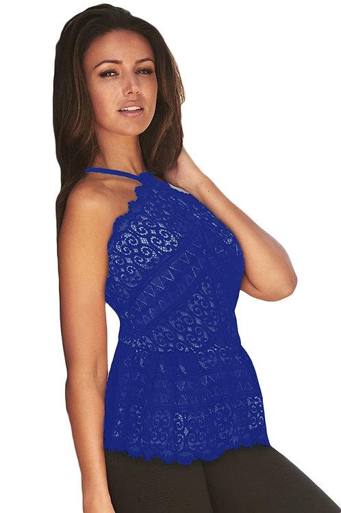 VIP blue crochet cross strap flare top