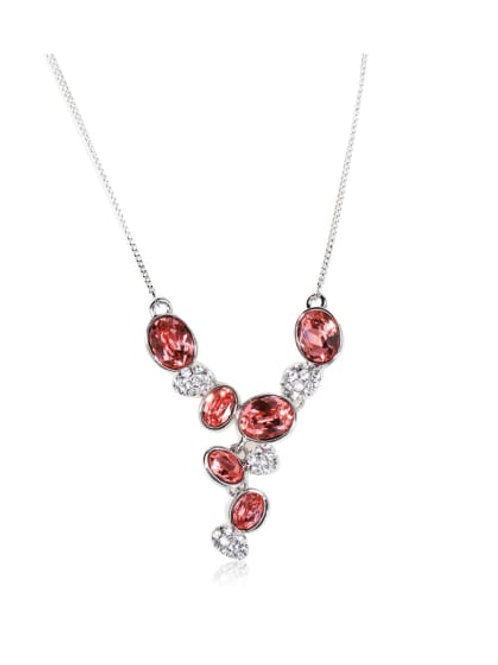 Silver plated Dazzling red Rhinestone Swarovski element crystal necklace