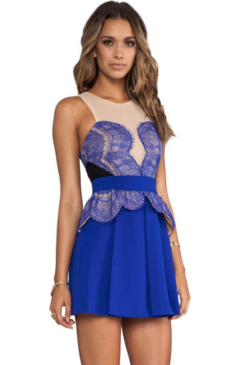 VIP Skater style blue/pale pink lace effect dress