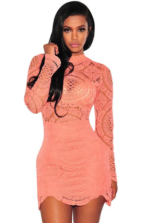 VIP deluxe Peach Crochet Lace High Neck Dress