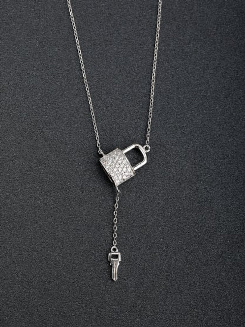 925 Silver padlock & key pendant and chain 18″ chain
