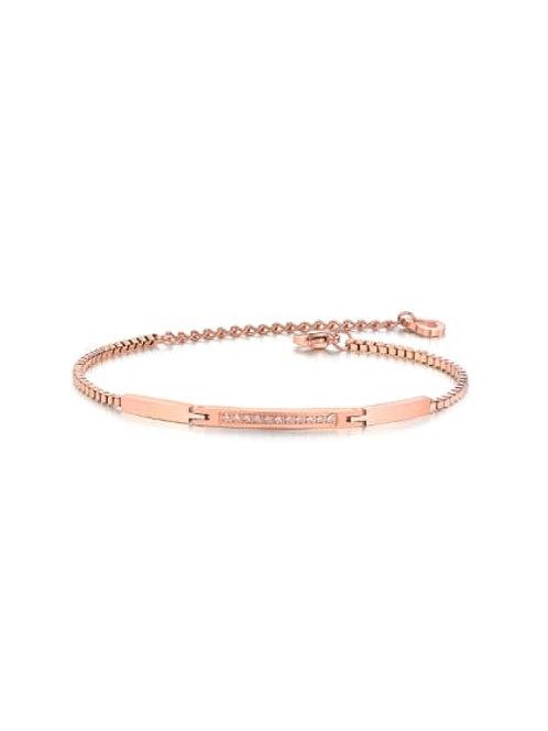Cubic Rhinestones Rose Gold Plated Titanium Bracelet