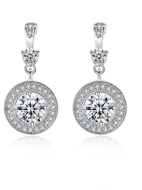 Platinum Plated Pure White stone round Zircon stone earrings