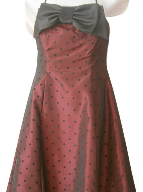 Plum and black 50's style bow prom/event dress