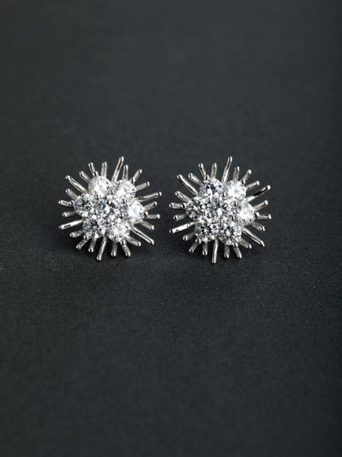 VIP bling Zircon flower 925 silver Stud earrings with high-quality Open Flower s