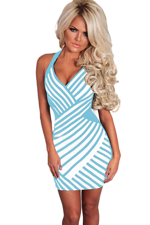 Blue and White stripe  & Mesh Halterneck Dress