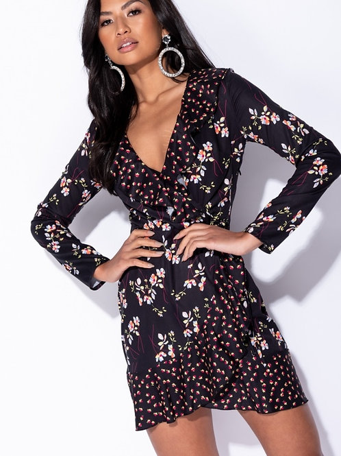 Black Floral ditsy Printed Detail Wrap Front Frill Trim Dress