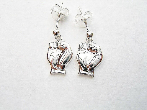 Solid silver custom made fist of faith northern soul earrings