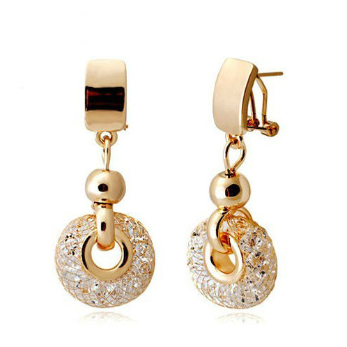 18k Rose Gold plated Drop Earrings Champagne Wire Zircon Crystal