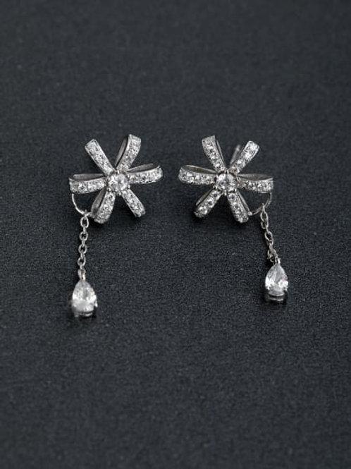 Silver Micro inlay Zircon Flower 925 silver Drop Earrings