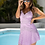 Thumbnail: Dressnest Purple Eyelash Lace Trim Uneven Hem Lace Mini Dress