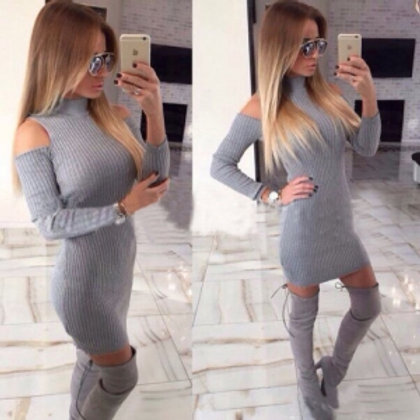 Grey ribbed cold shoulder cut out long sleeve body con dress