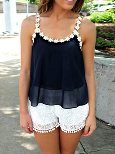 Navy blue with white daisy trim top