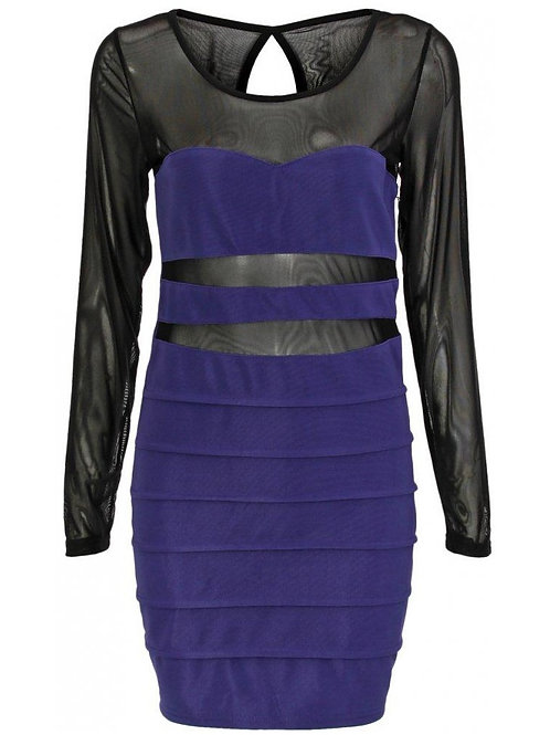 Purple and blacLast one hence the price. Classic style thatk mesh body con dress