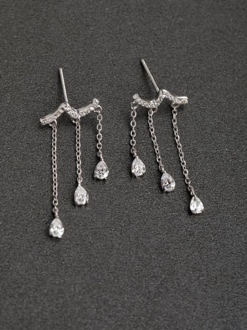 Silver zircon bright white drop 925 Silver Earrings