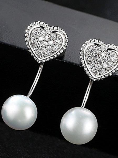 925 silver cubic zircon heart &  natural freshwater pearl stud earrings