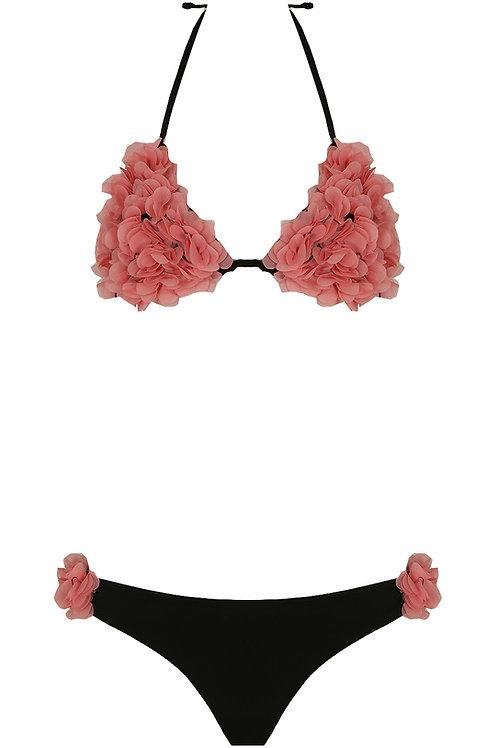 VIP Rose Pink & Black Floral Halter Neck Bikini Set