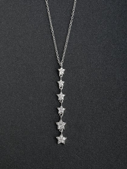 Silver White Zircon Star Pentagram Pendant 925 and chain