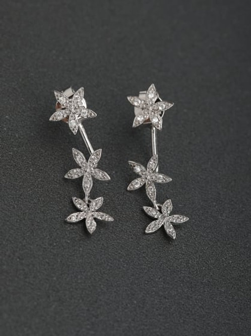 Silver Micro inlay Zircon Flower 925 Drop Earrings