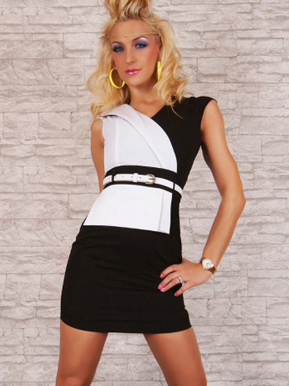 classic black and white mono chrome belted dress