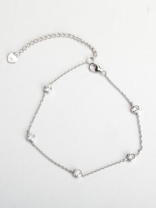 Silver 5 stone Rhinestone silver 925 Bracelet