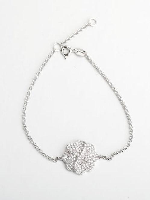 Silver Rhinestone Flower 925 silver Bracelet