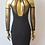 Thumbnail: Black sheer knee length with matching gloves dress